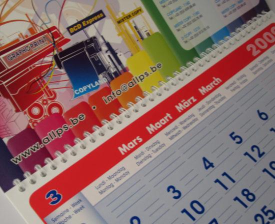 calendrier anneaux métalliques